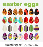 vector set of easter eggs | Shutterstock .eps vector #73757356