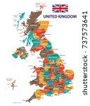 united kingdom map and flag  ... | Shutterstock .eps vector #737573641