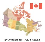 canada vintage map and flag  ... | Shutterstock .eps vector #737573665