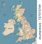 united kingdom map   vintage... | Shutterstock .eps vector #737573749