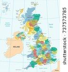 united kingdom map   detailed... | Shutterstock .eps vector #737573785