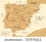 spain map   vintage detailed... | Shutterstock .eps vector #737574211