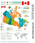 canada infographic map and flag ... | Shutterstock .eps vector #737574235