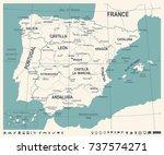 spain map   vintage detailed... | Shutterstock .eps vector #737574271