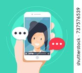video chatting online on... | Shutterstock .eps vector #737576539