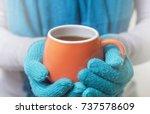 a cup of hot drink  tea or... | Shutterstock . vector #737578609