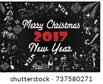 new year and christmas frame of ... | Shutterstock .eps vector #737580271