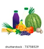 collection of vector fruits and ... | Shutterstock .eps vector #73758529