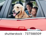happy kids sitting on backseats ... | Shutterstock . vector #737588509