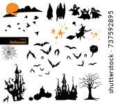 set of halloween tree  witch ... | Shutterstock .eps vector #737592895
