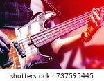 guitar neck close up on a... | Shutterstock . vector #737595445