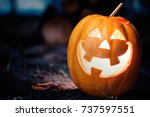 halloween jack o lantern on... | Shutterstock . vector #737597551