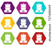 steamer icon set many color... | Shutterstock .eps vector #737600449