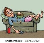 cartoon teen relaxing on the... | Shutterstock .eps vector #73760242