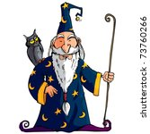 Cartoon Wizard With A Staff. H...