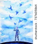 man and flying birds free ... | Shutterstock . vector #737605864