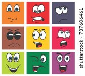 cartoon faces expressions... | Shutterstock .eps vector #737606461