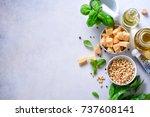ingredients for homemade pesto  ... | Shutterstock . vector #737608141