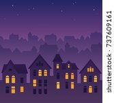 night city skyline silhouette.... | Shutterstock .eps vector #737609161