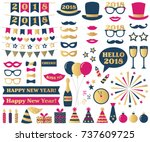 new year vector photo booth... | Shutterstock .eps vector #737609725