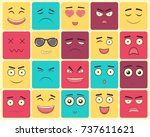 emoticons set  emoji isolated... | Shutterstock .eps vector #737611621
