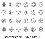 Stock vector set of minimal thin line flower icon 737613931