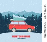 vector red car with a christmas ... | Shutterstock .eps vector #737616811