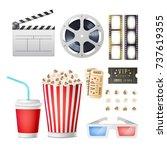 cinema movie icons set.... | Shutterstock .eps vector #737619355