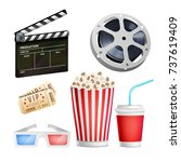 cinema movie icons set.... | Shutterstock .eps vector #737619409
