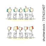 sketch of working little people ... | Shutterstock .eps vector #737621407