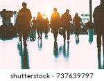 the passengers in the airport ... | Shutterstock . vector #737639797