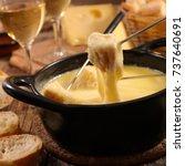 cheese fondue | Shutterstock . vector #737640691