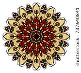red  gold mandala round...