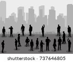 silhouette of people on city... | Shutterstock .eps vector #737646805