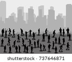silhouette people stand on city ... | Shutterstock .eps vector #737646871