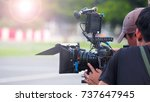 blurry image of movie shooting... | Shutterstock . vector #737647945