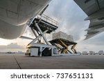 loading cargo outside cargo... | Shutterstock . vector #737651131