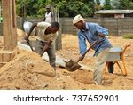 african workers with shovels... | Shutterstock . vector #737652901