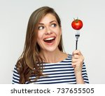 happy woman holding fork with... | Shutterstock . vector #737655505