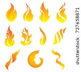 vector set of flame. a... | Shutterstock .eps vector #737658871