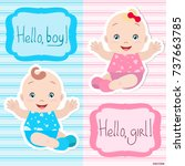 lovely twins  vector babies boy ... | Shutterstock .eps vector #737663785
