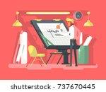 engineer constructor draws... | Shutterstock .eps vector #737670445