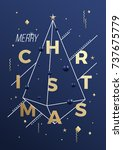 merry christmas abstract vector ... | Shutterstock .eps vector #737675779