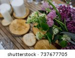 bouquet of violet lilac and...   Shutterstock . vector #737677705