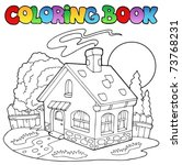 coloring book with small house  ... | Shutterstock .eps vector #73768231