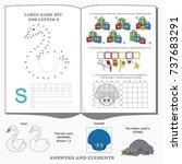 letter s. dot to dot... | Shutterstock .eps vector #737683291