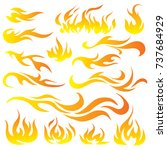 vector set of flame. a... | Shutterstock .eps vector #737684929