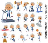 set of various poses of navy... | Shutterstock .eps vector #737708929