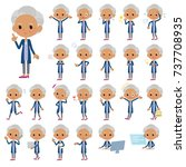 set of various poses of navy... | Shutterstock .eps vector #737708935