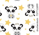 Stock vector seamless pattern with panda bear vector illustration 737711899